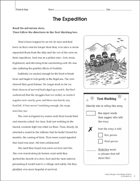 The Expedition: Close Reading Passage - Printable Worksheet