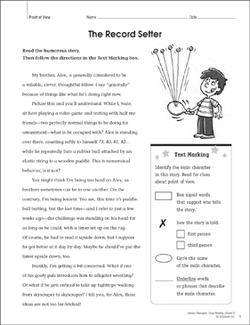 The Record Setter: Close Reading Passage - Printable Worksheet