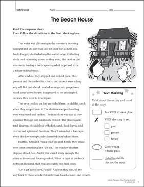 The Beach House: Close Reading Passage - Printable Worksheet
