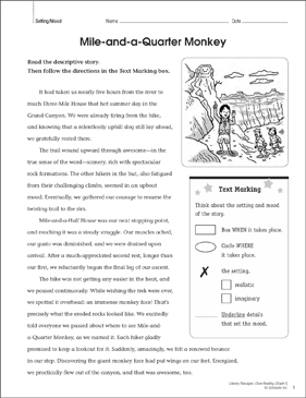 Mile-and-a-Quarter Monkey: Close Reading Passage - Printable Worksheet