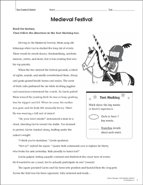 Medieval Festival: Close Reading Passage - Printable Worksheet