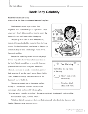 Block Party Celebrity: Close Reading Passage - Printable Worksheet