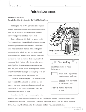 Painted Sneakers: Close Reading Passage - Printable Worksheet