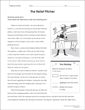 The Relief Pitcher: Close Reading Passage - Printable Worksheet