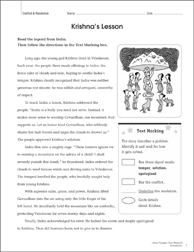 Krishna's Lesson: Close Reading Passage - Printable Worksheet