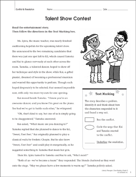 Talent Show Contest: Close Reading Passage - Printable Worksheet