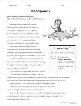 The Shipwreck: Close Reading Passage - Printable Worksheet