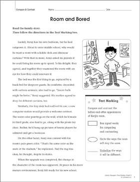 Room and Bored: Close Reading Passage - Printable Worksheet