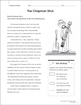 The Chapman Stick: Close Reading Passage - Printable Worksheet