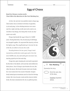 Egg of Chaos: Close Reading Passage - Printable Worksheet