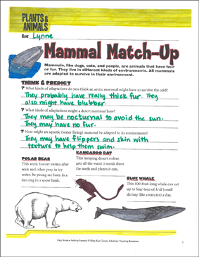 Mammal Match-Up: A Life Science Journaling Activity - Printable Worksheet