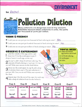 Pollution Dilution: A Life Science Journaling Activity - Printable Worksheet