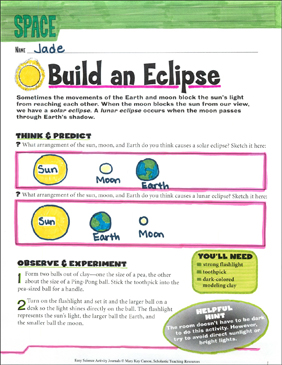 Build an Eclipse: An Earth Science Journaling Activity - Printable Worksheet
