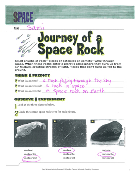 Journey of a Space Rock: An Earth Science Journaling Activity - Printable Worksheet