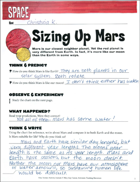Sizing Up Mars: An Earth Science Journaling Activity - Printable Worksheet