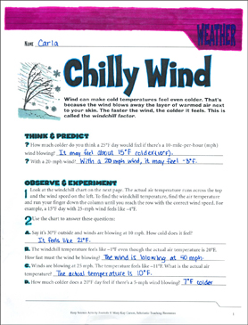Chilly Wind: An Earth Science Journaling Activity - Printable Worksheet