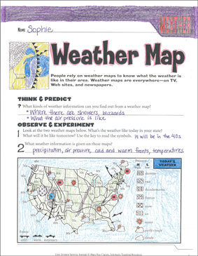 Weather Map: An Earth Science Journaling Activity - Printable Worksheet