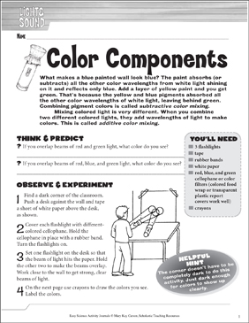 Color Components: A Physical Science Journaling Activity - Printable Worksheet