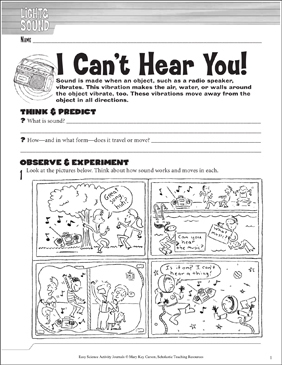 I Can't Hear You! A Physical Science Journaling Activity - Printable Worksheet