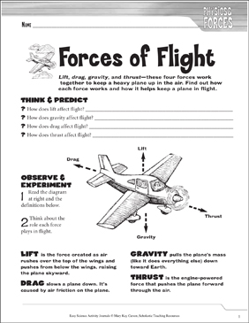 Forces of Flight: A Physical Science Journaling Activity - Printable Worksheet