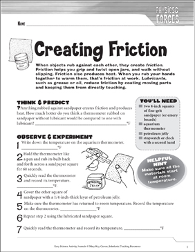 Creating Friction: A Physical Science Journaling Activity - Printable Worksheet