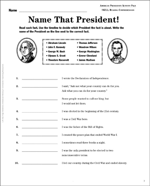 American Presidents: Lift-the-Flap Timeline - Printable Worksheet