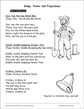 Farm Animals: Songs, Poems, and Puppets - Printable Worksheet