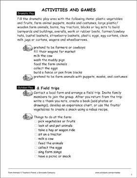 Farm Animal-Themed Activities and Games - Printable Worksheet