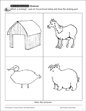 Complete the Picture: Identifying Farm Animals - Printable Worksheet
