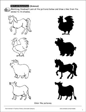 Farm Animals Matching Shadows Printable Skills Sheets