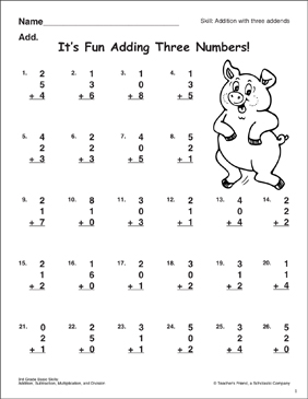 It's Fun Adding Three Numbers! (Addition with Three Addends) - Printable Worksheet