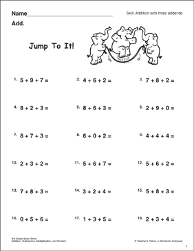 Jump to It! (Addition with Three Addends) - Printable Worksheet