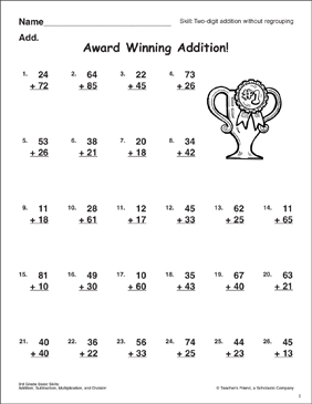 Award Winning Addition! (Two-Digit Addition Without Regrouping) - Printable Worksheet