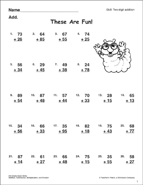 These Are Fun! (Two-Digit Addition With/Without Regrouping) - Printable Worksheet