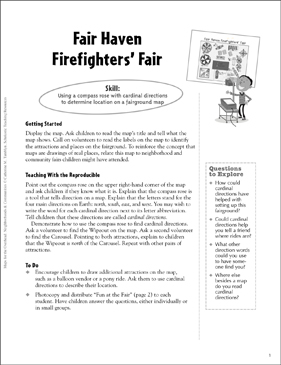 Fair Haven Firefighters' Fair (Using a Compass Rose): Map Skills - Grades 1-3 - Printable Worksheet