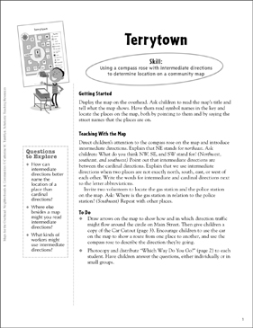 Terrytown (Using a Compass Rose): Map Skills - Grades 1-3 - Printable Worksheet