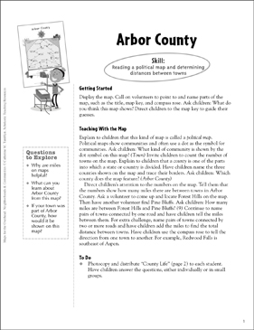 Arbor County (Reading a Political Map): Map Skills - Grades 1-3 - Printable Worksheet