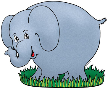 Elephant on Grass - Image Clip Art