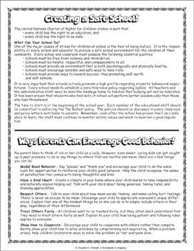 Creating a Safe School - Printable Worksheet