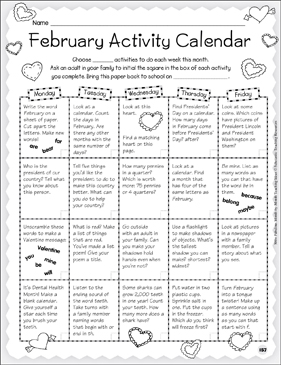 February - Activity Calendar & Stationery - Printable Worksheet