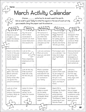 March Activity Calendar & Stationery - Printable Worksheet