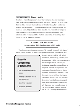 Classroom Management Strategy: Time Limits (Preventative Management) - Printable Worksheet
