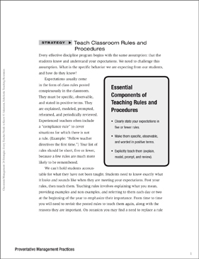Classroom Management Strategy: Teach Classroom Rules and Procedures (Preventative Management) - Printable Worksheet
