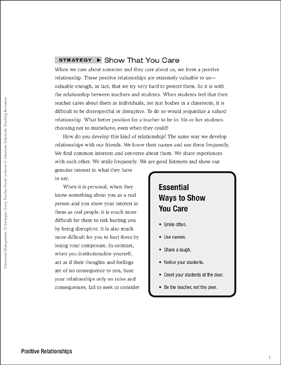 Classroom Management Strategy: Show That You Care (Positive Relationships) - Printable Worksheet