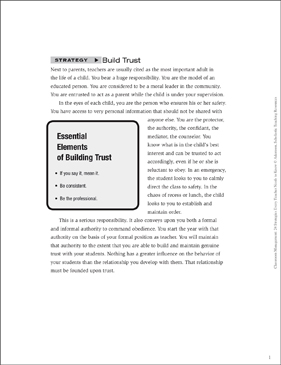 Classroom Management Strategy: Build Trust (Positive Relationships) - Printable Worksheet