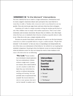 "Classroom Management Strategy: ""In the Moment"" (Interventions) - Printable Worksheet"