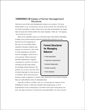 Classroom Management Strategy: Adopt a Formal Management Structure (Professionalism) - Printable Worksheet