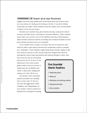 Classroom Management Strategy: Teach and Use Routines (Professionalism) - Printable Worksheet