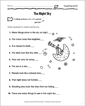 The Night Sky (Recognizing Periods) - Printable Worksheet
