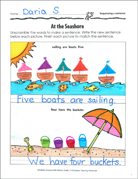 At the Seashore (Sequencing a Sentence) - Printable Worksheet